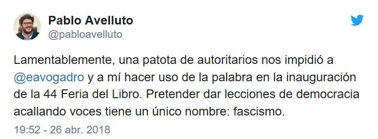Twit del Ministro de Cultura, Pablo Avelluto